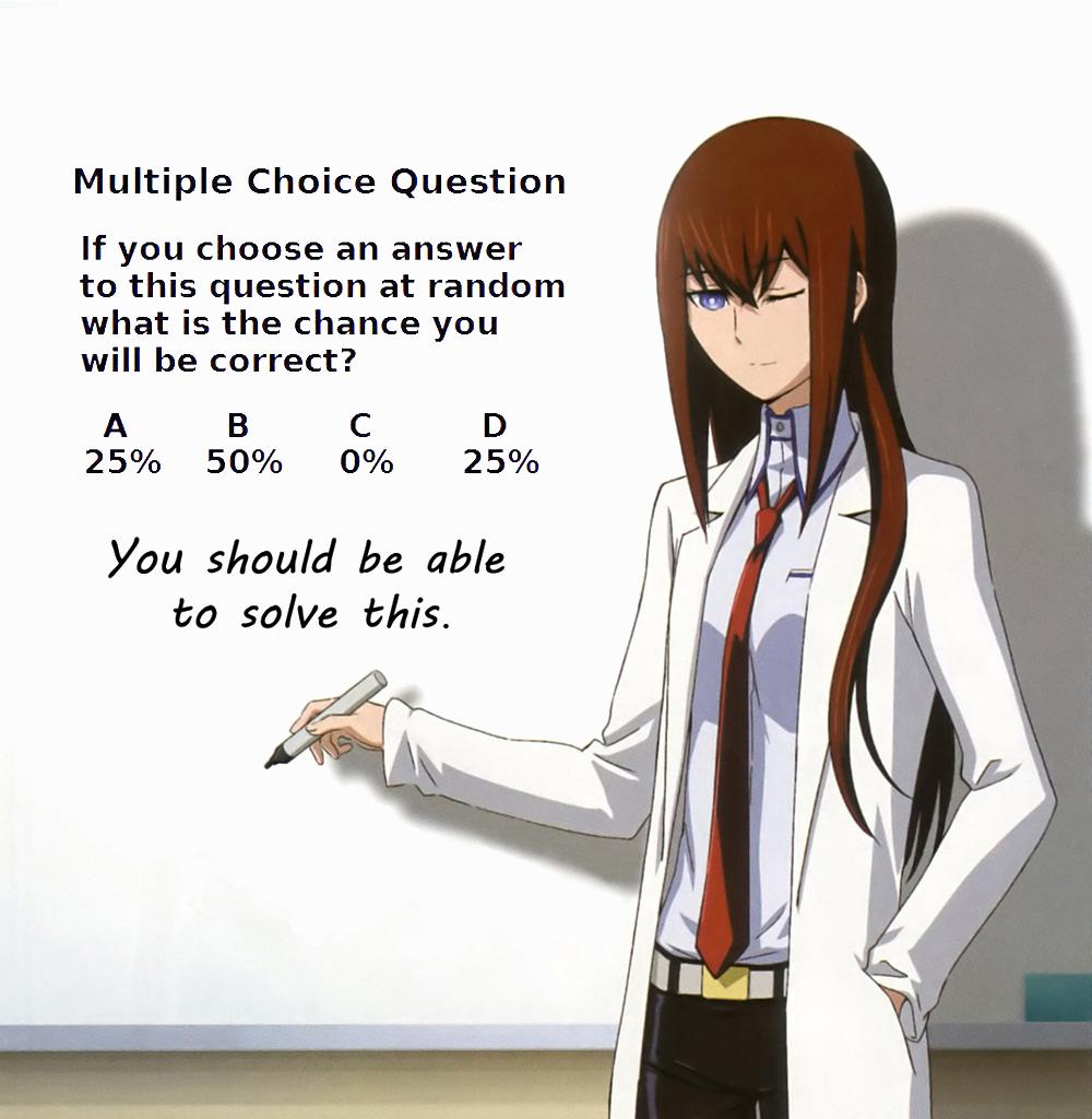Multiple choice, random questions?