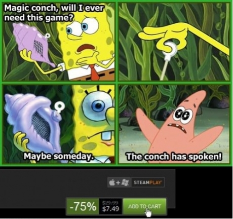 60b the conch has spoken! steam sales know your meme