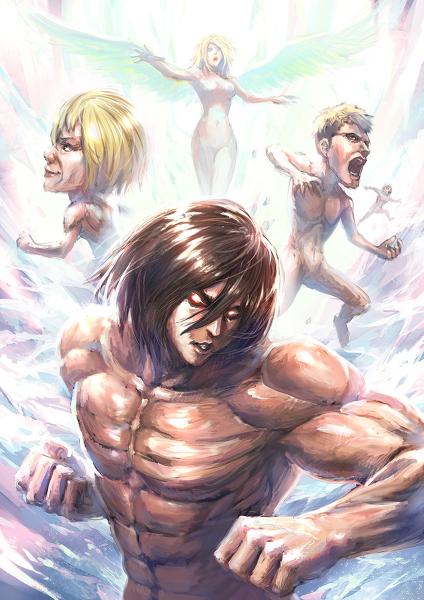Hahaha mikasa is a male titan why was annie a female titan then eren yeager mikasa ackermann armin arlert anime fictional character muscle cg artwork voltagebd Images