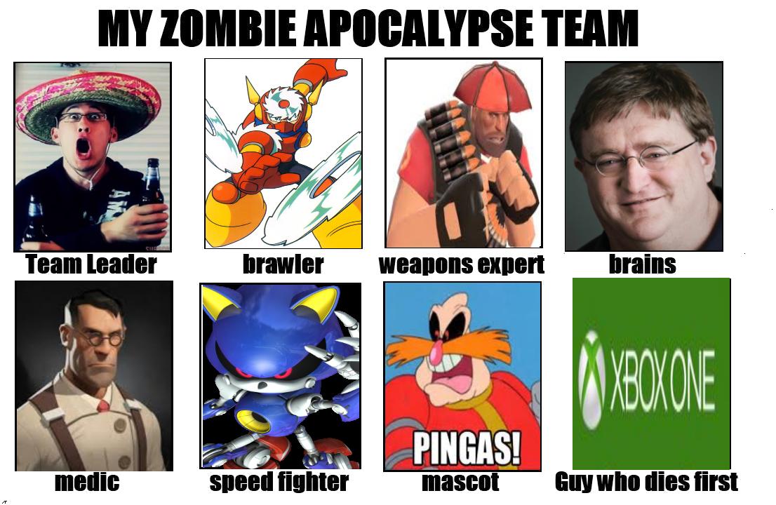 1e2 gamer version my zombie apocalypse team know your meme
