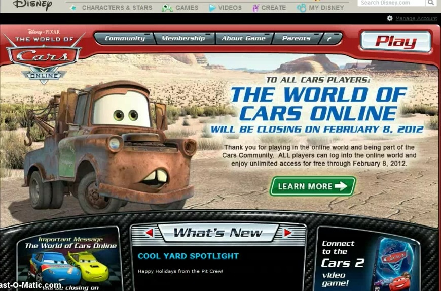 The Announcement of The World of Cars Online Closing. | Pixar\'s Cars ...
