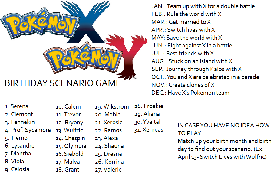 Pokemon X And Y Birthday Scenario Game Birthday Scenario