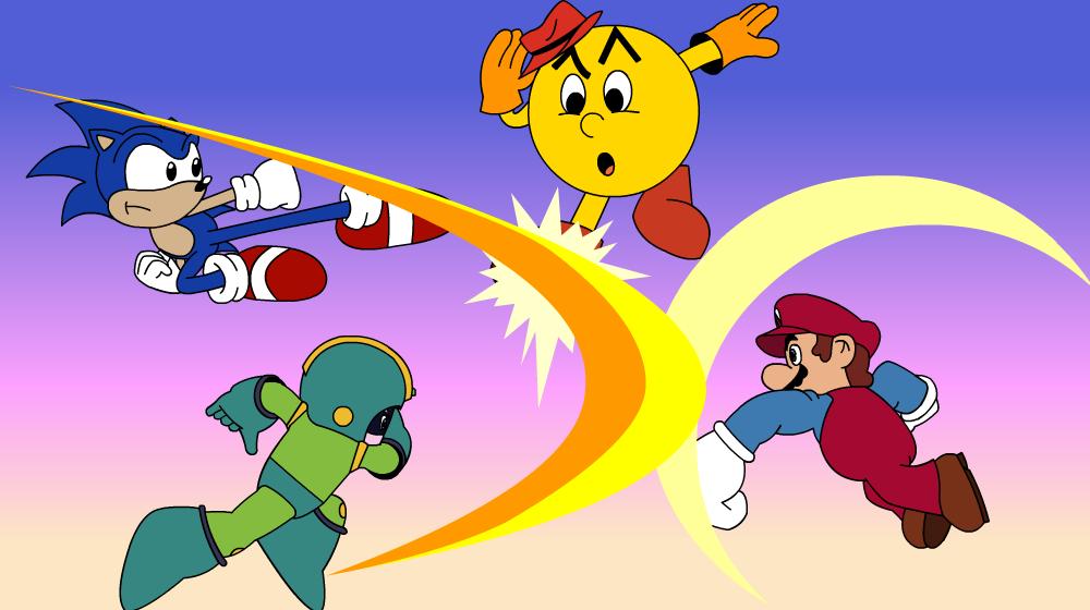 Mario Vs Sonic Vs Megaman Vs Pacman Cartoon Smash Bros   S...
