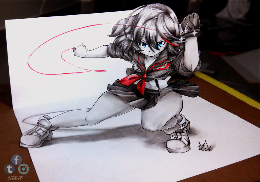 Ryuko matoi 3d drawing on paper kill la kill know your meme obisart sciox Gallery