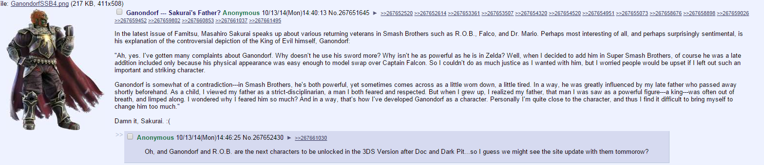 Ganondorf = Sakurai's Father | Super Smash Brothers | Know Your Meme