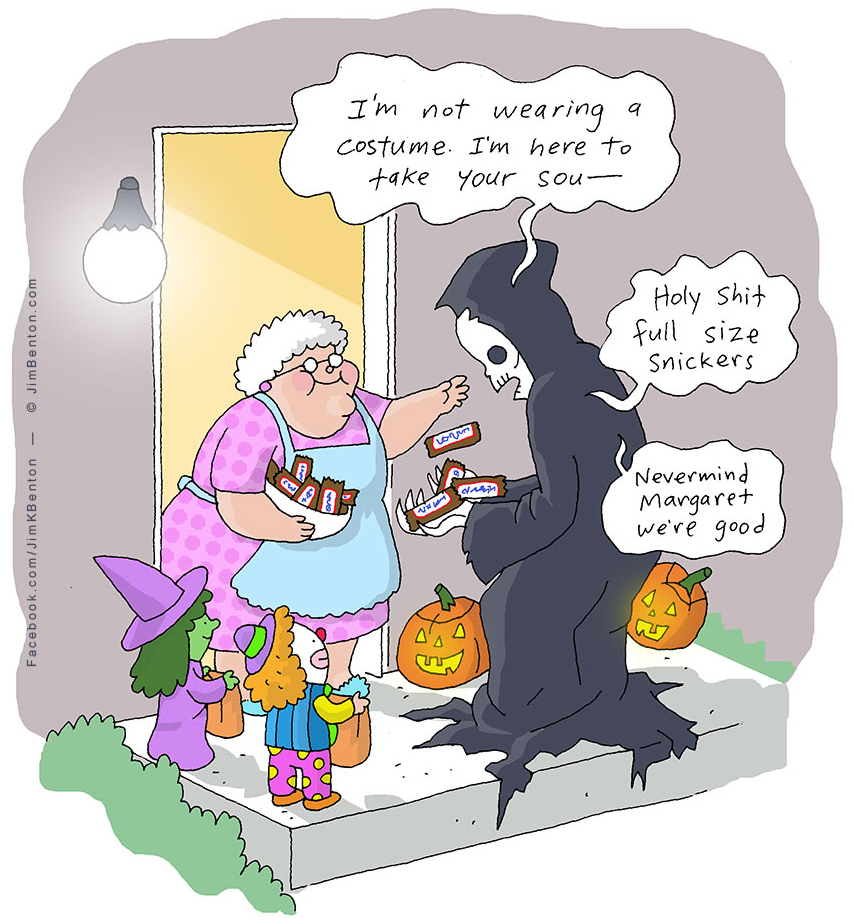 Death is even in the holiday spirit. Drawing by Jim Benton ...