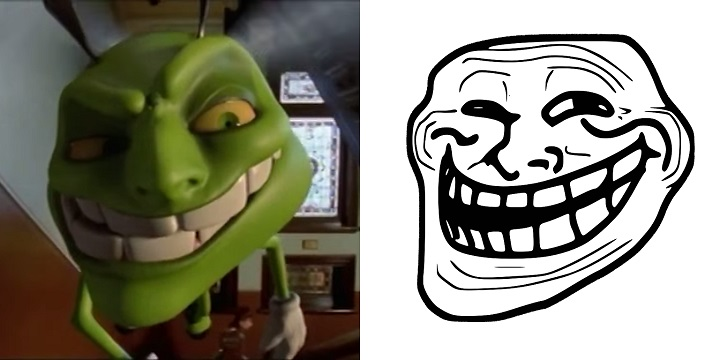 497 the green bee from son of the mask totally looks like the trollface