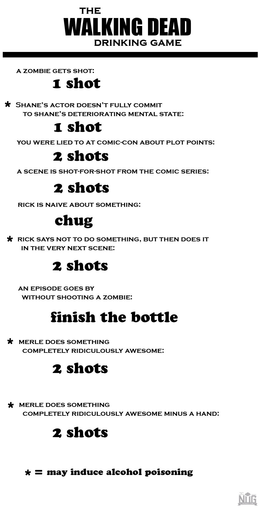 THE WALKING DEAD DRINKING GAME A ZOMBIE GETS SHOT 1 Shot SHanES ACTOR DOESN