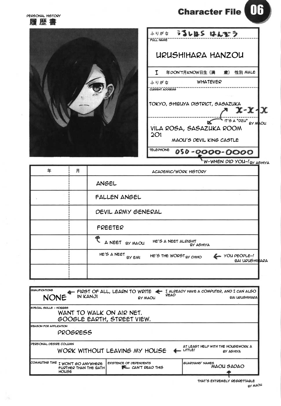 Character File 06 PERSONAL HISTORY 履歴書 Sはん℃? ふりがな RILL NAME 年  Worst Resumes Ever