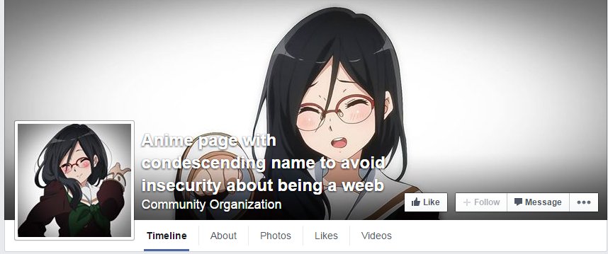 Anime Page Wi Condescendino Name To AvoId Insecurity About Being A Weeb Community Organization Like FollowMessage
