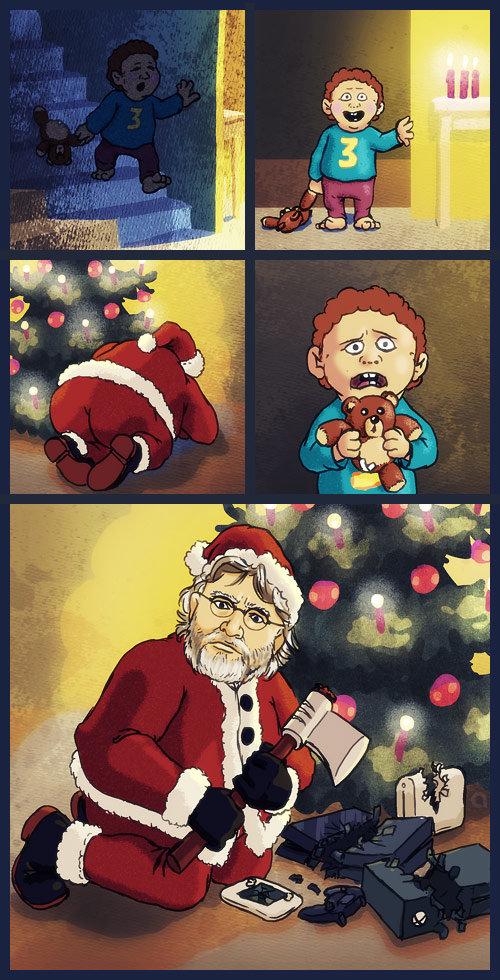 Gaben Santa disapproves of consoles | Gaben | Know Your Meme
