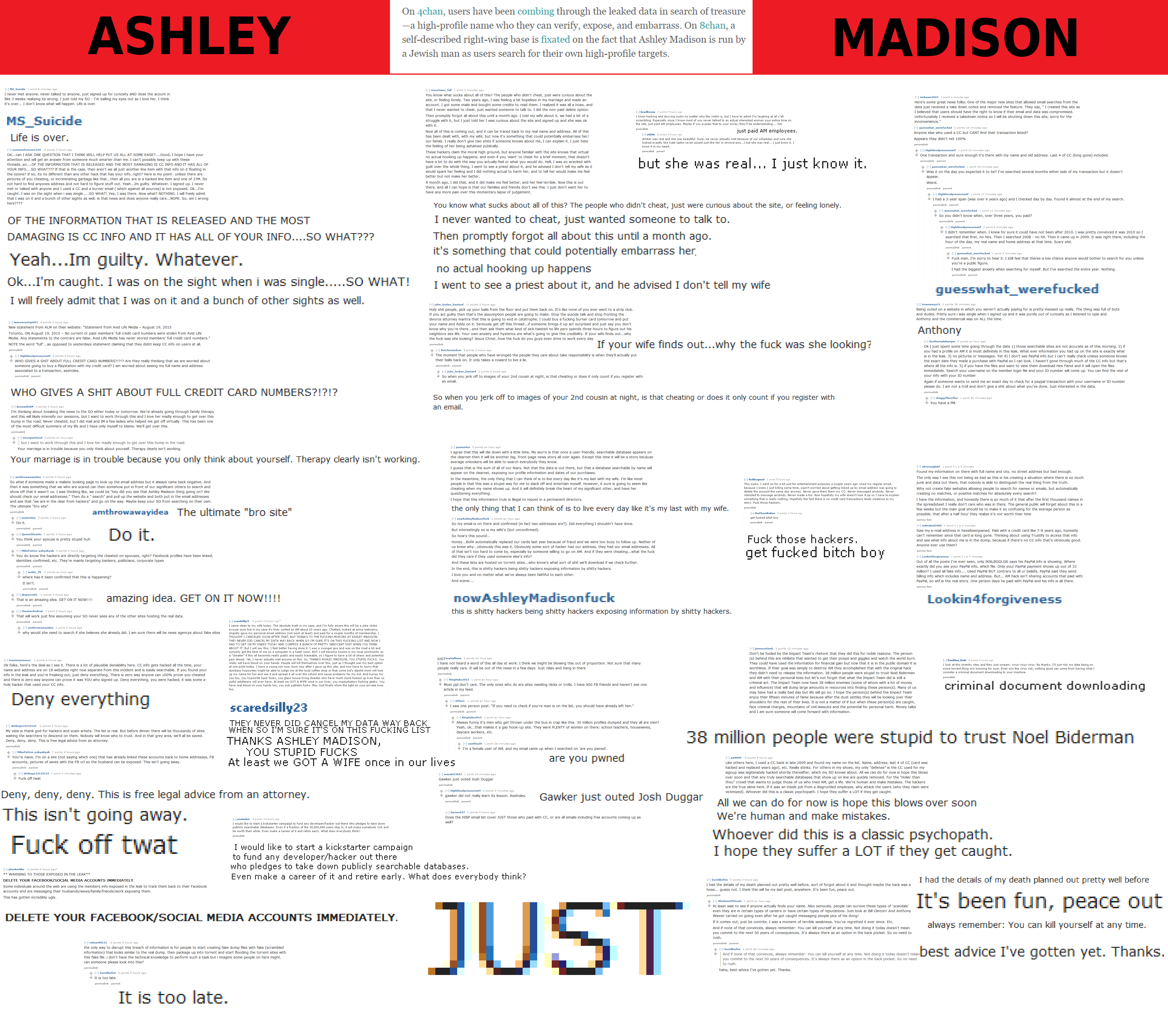 ASHLEY On 4chan, users have been combing through the leaked data in search  of