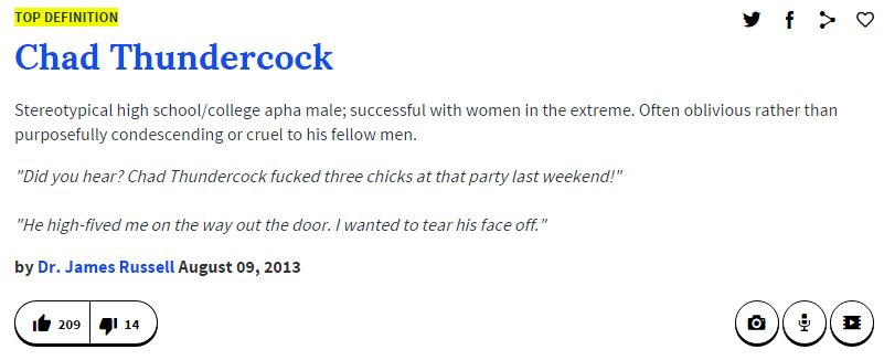a6d urban dictionary definition chad thundercock know your meme,Memes Urban Dictionary