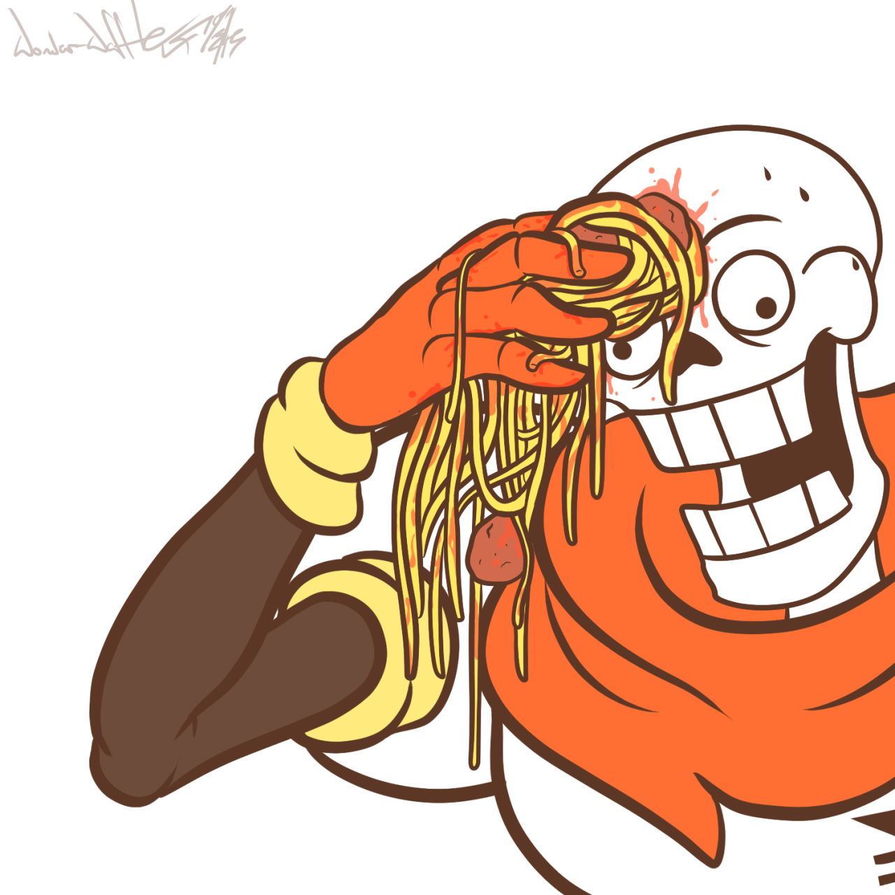 Towel To Wipe Sweat: Wiping Skeleton Sweat With Spaghetti