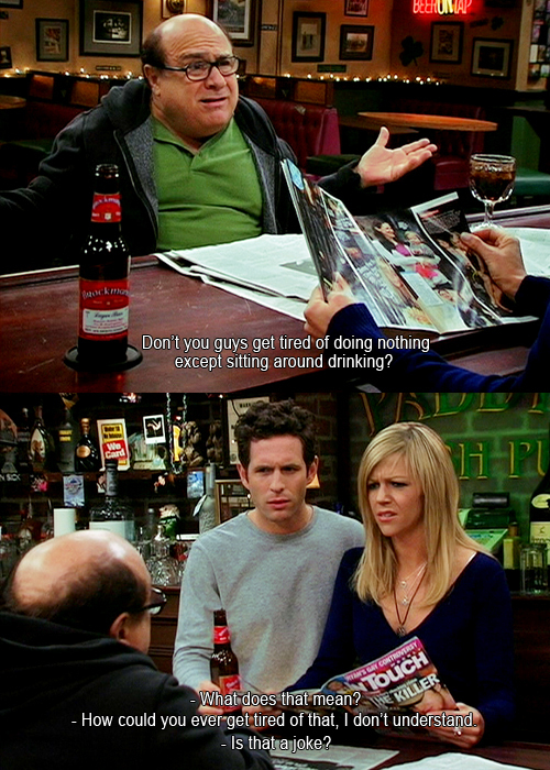 be9 sitting around and drinking it's always sunny in philadelphia