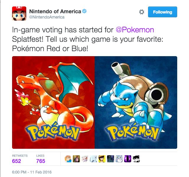 f29 the next splatfest is pokémon red vs pokémon blue splatoon