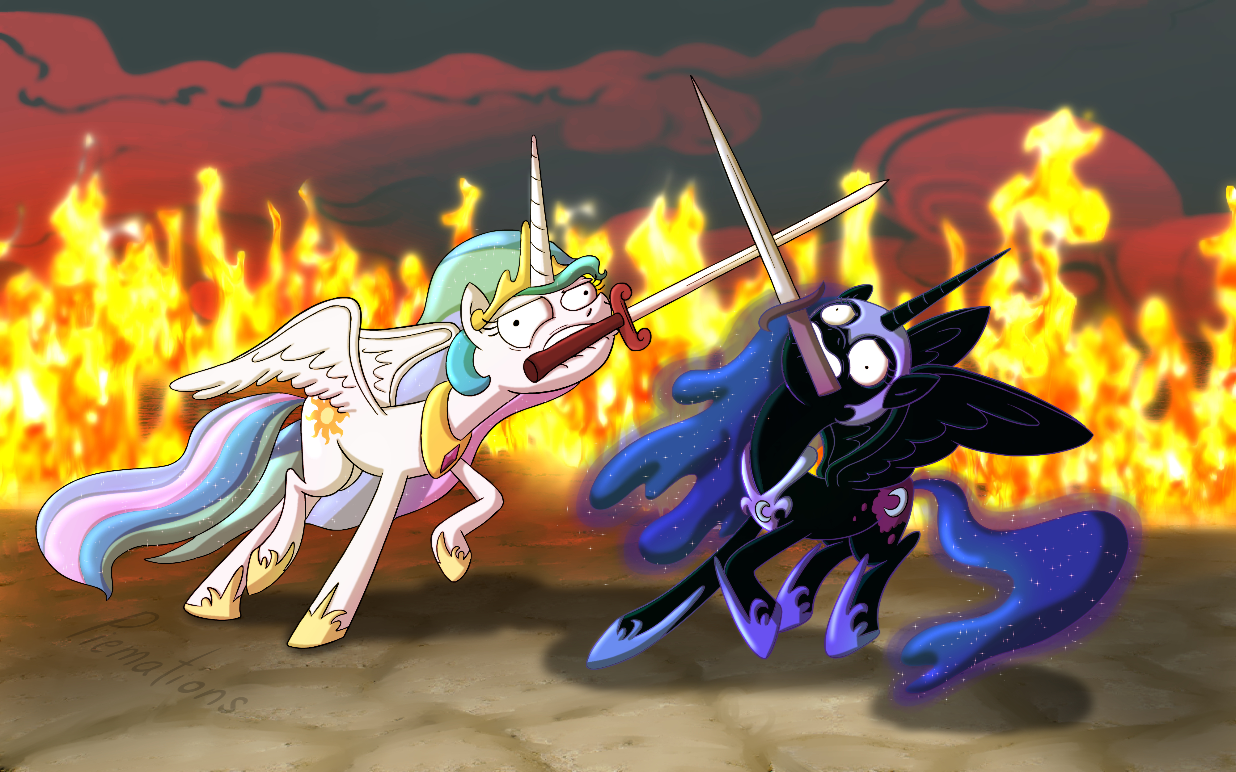 ponies sword fighting can u0027t look cool by actuallypiemations my