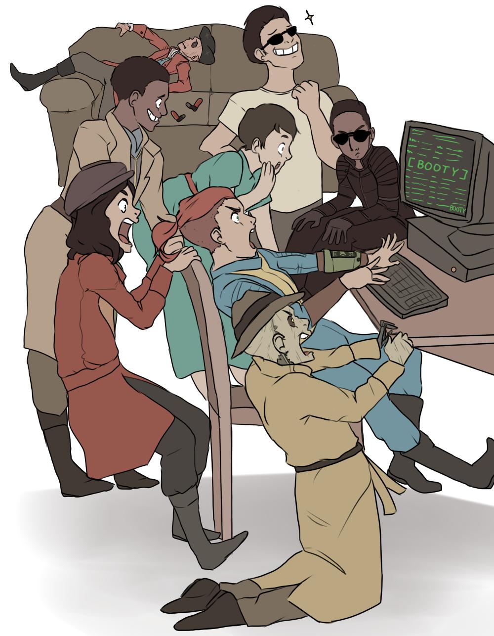 Fallout 3 Anime Characters : Draw the squad da fallout crew by dovetalon