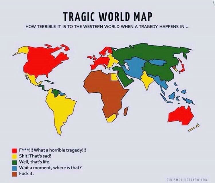 How The West Responds To Tragedies By Continent The World - World map west