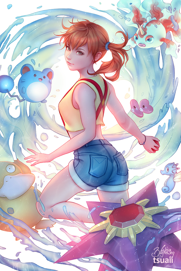 9 tsua pokémon x and y misty pikachu anime human hair color cartoon cg artwork fictional