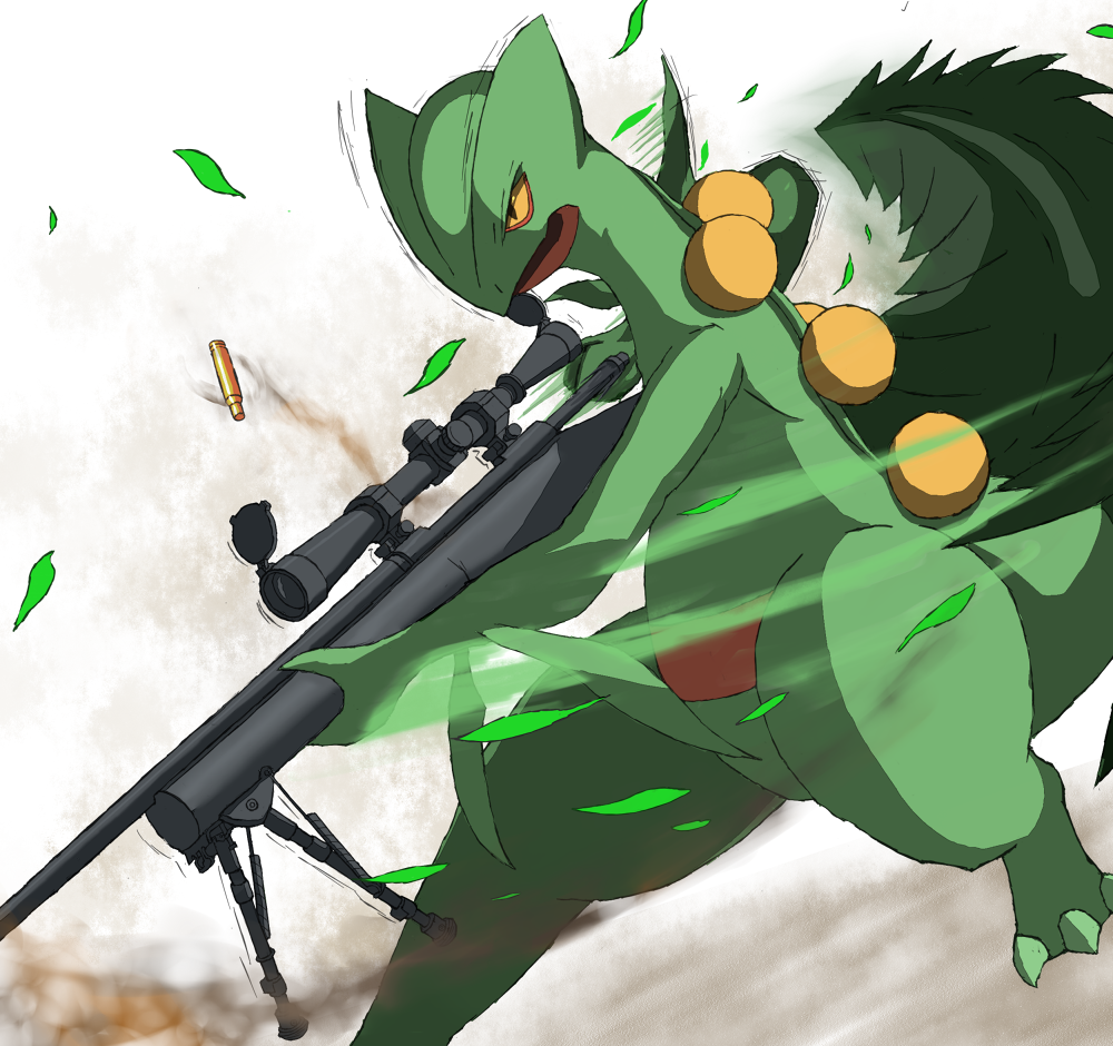 Sceptile Holding An Rifle Pok 233 Mon Know Your Meme