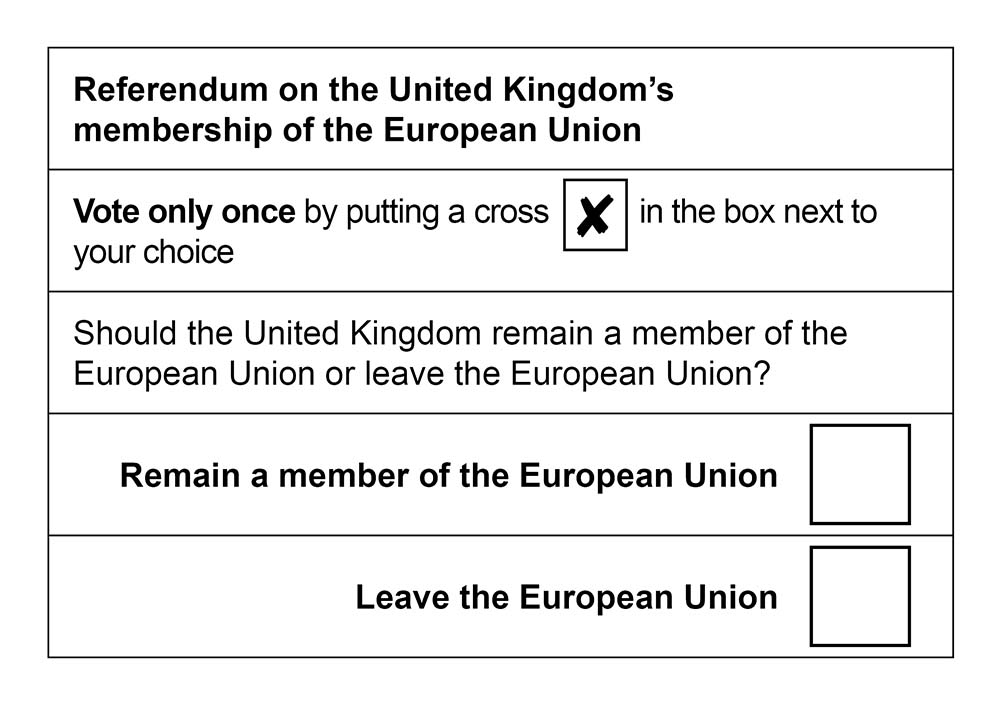 Ballot Paper | United Kingdom Withdrawal From the European Union ...