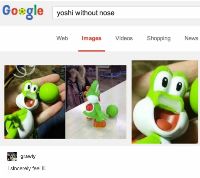 yoshi without a nose  super mario  know your meme