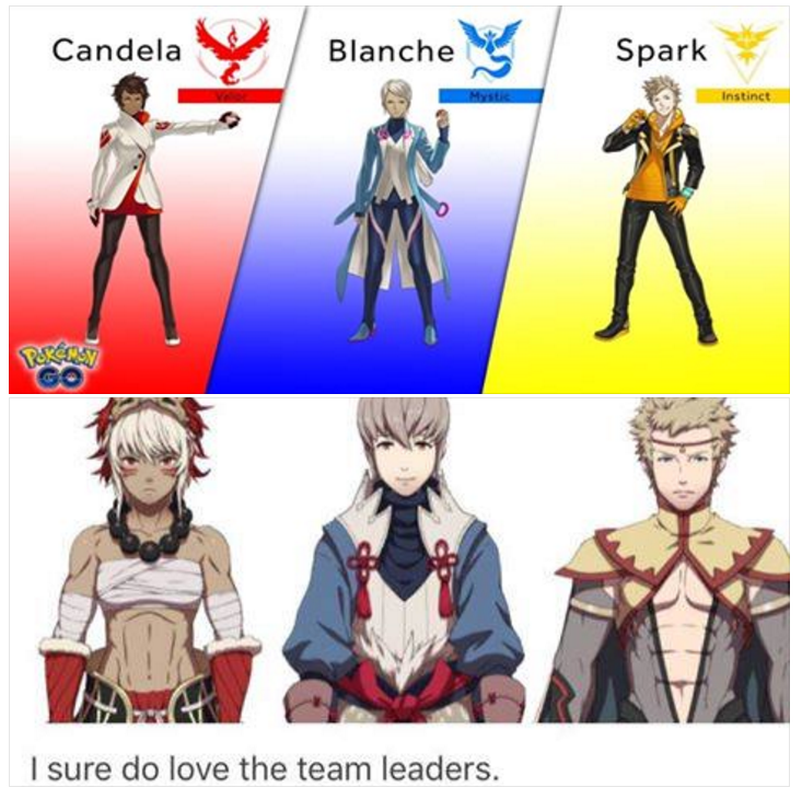 82a the leaders of valor, mystic, and instinct pokémon go know