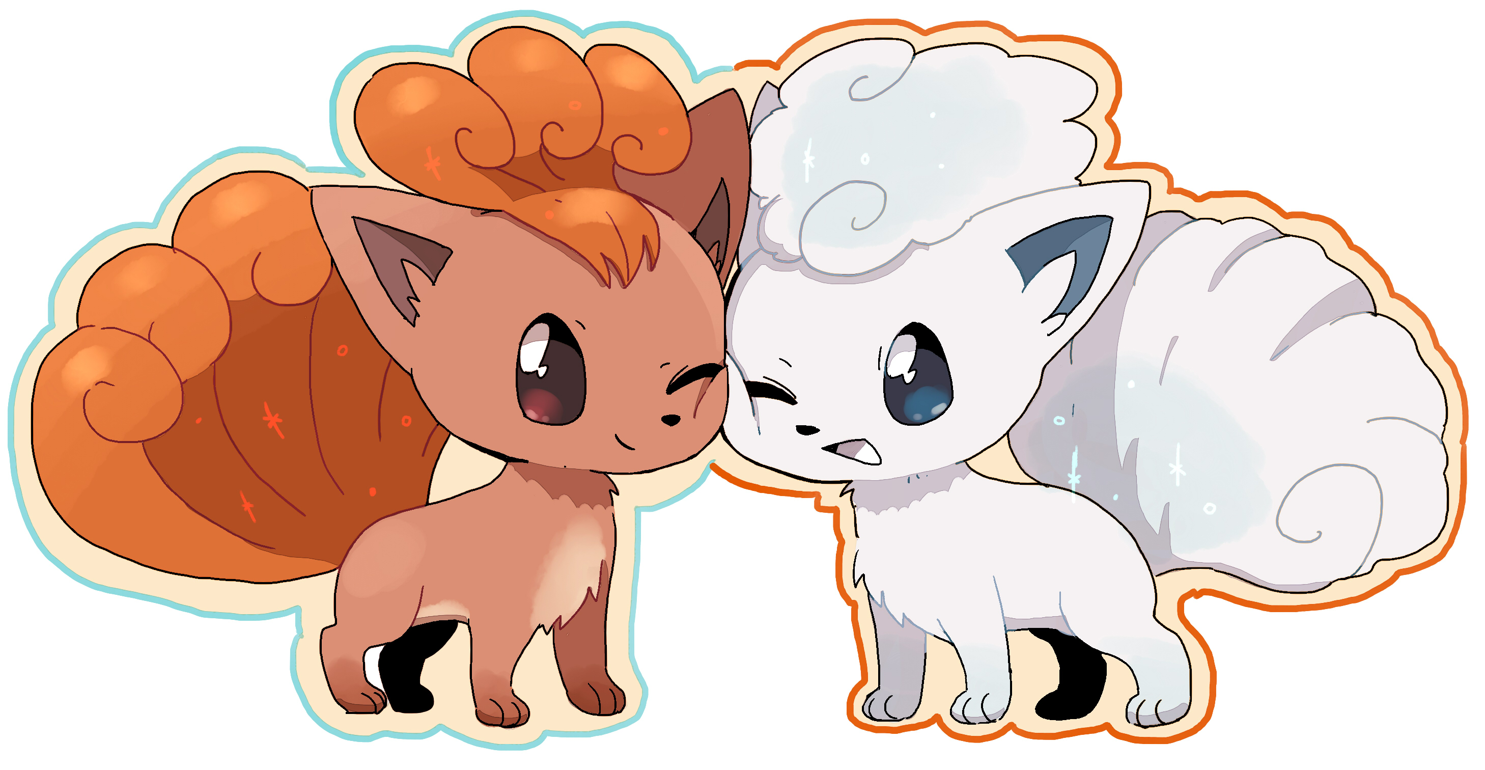 Vulpix and Alolan Vulpix touching each other faces ...