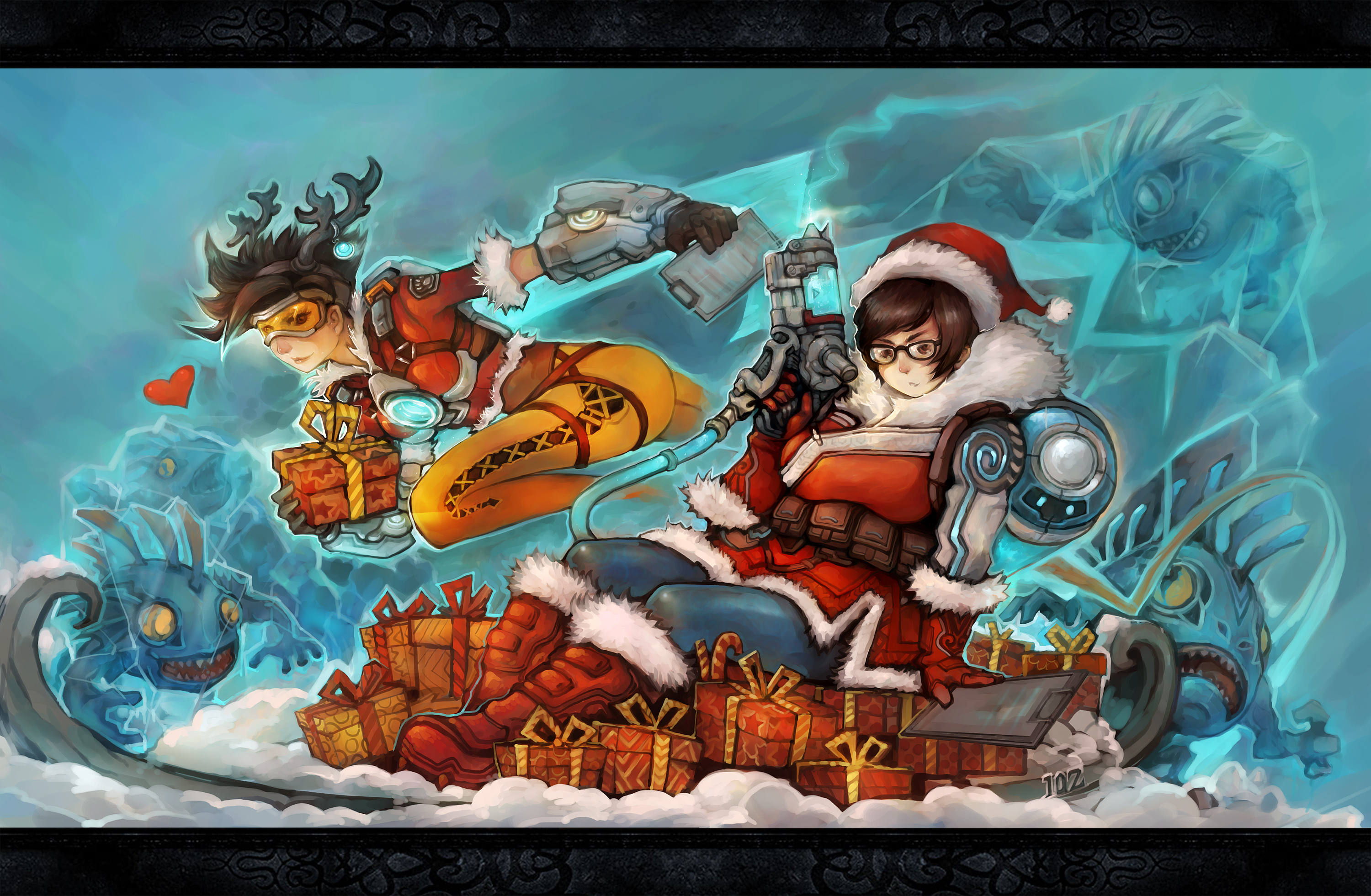 santa mei and reindeer tracer vs fish monsters overwatch know
