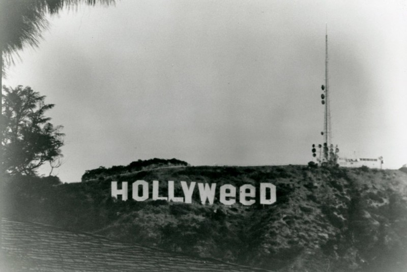 HOLLYWeeD Hollywood Sign Bowl Mount Lee Hollyweed Dispensary Black And White Monochrome Photography