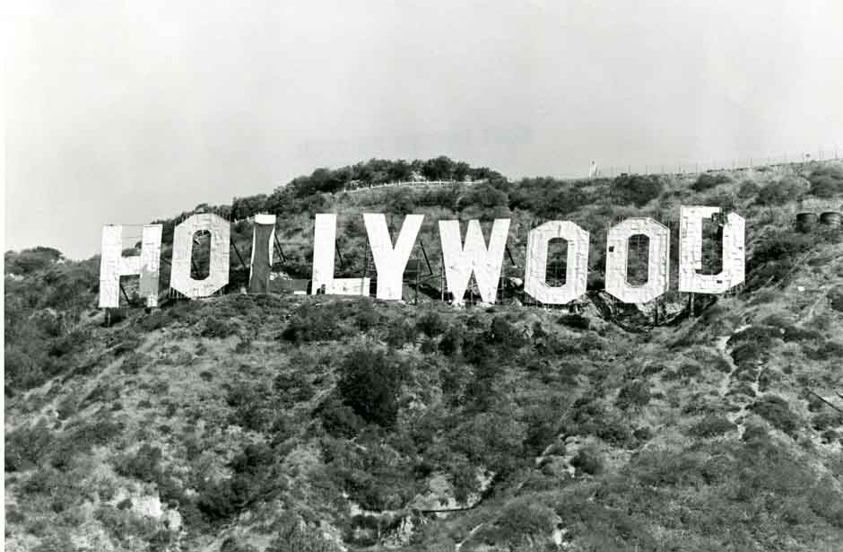 Hollywood Sign Mount Lee Black And White Monochrome Photography Font