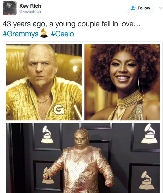 0eb goldmember ceelo ceelo green's grammys outfit know your meme