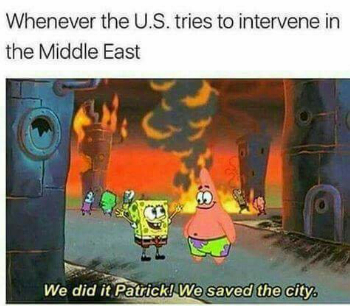 613 when the us tries to intervene in the middle east spongebob