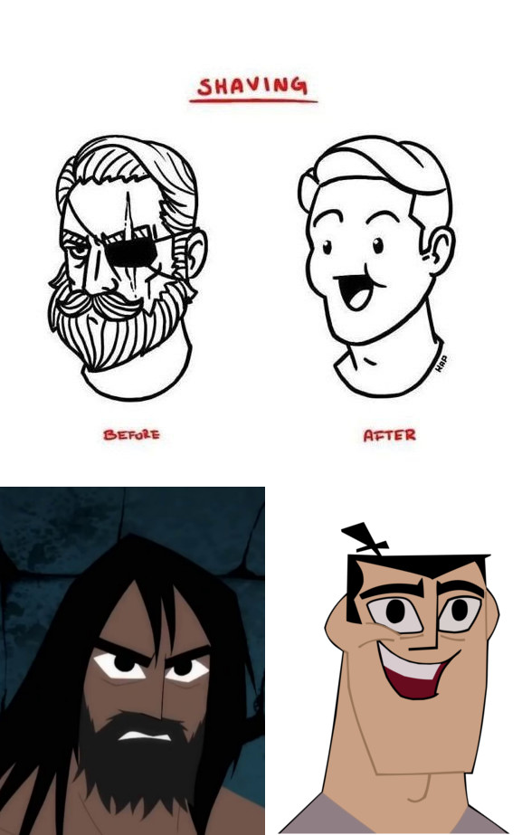 SHAVING BEFORE AFTER Face Hair Facial Expression Nose Smile Cartoon Cheek Text Head Emotion Forehead Hairstyle