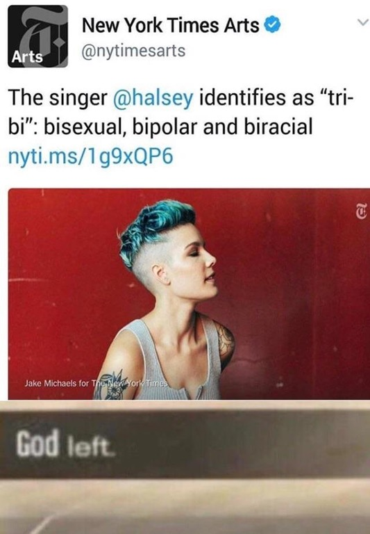 317 the singer @halsey identifies as 'tri bi'\