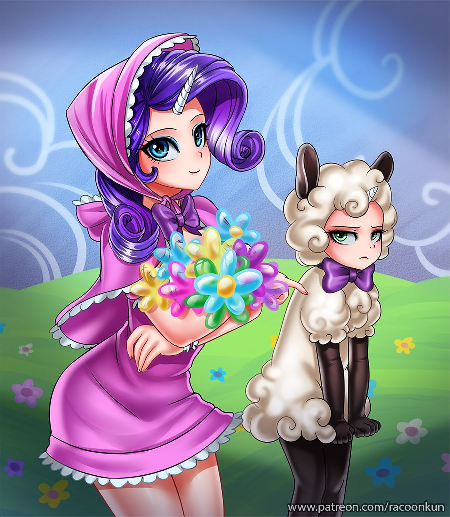 Rarity And Little Sister By RacoonKun