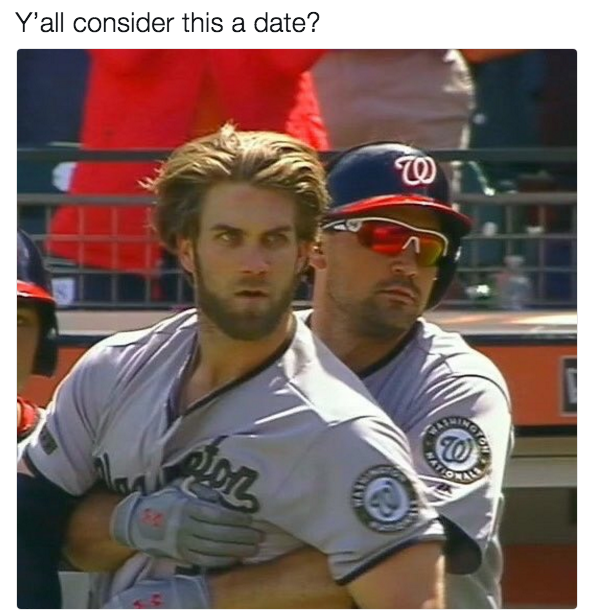 76e bryce harper hug y'all consider this a date? know your meme