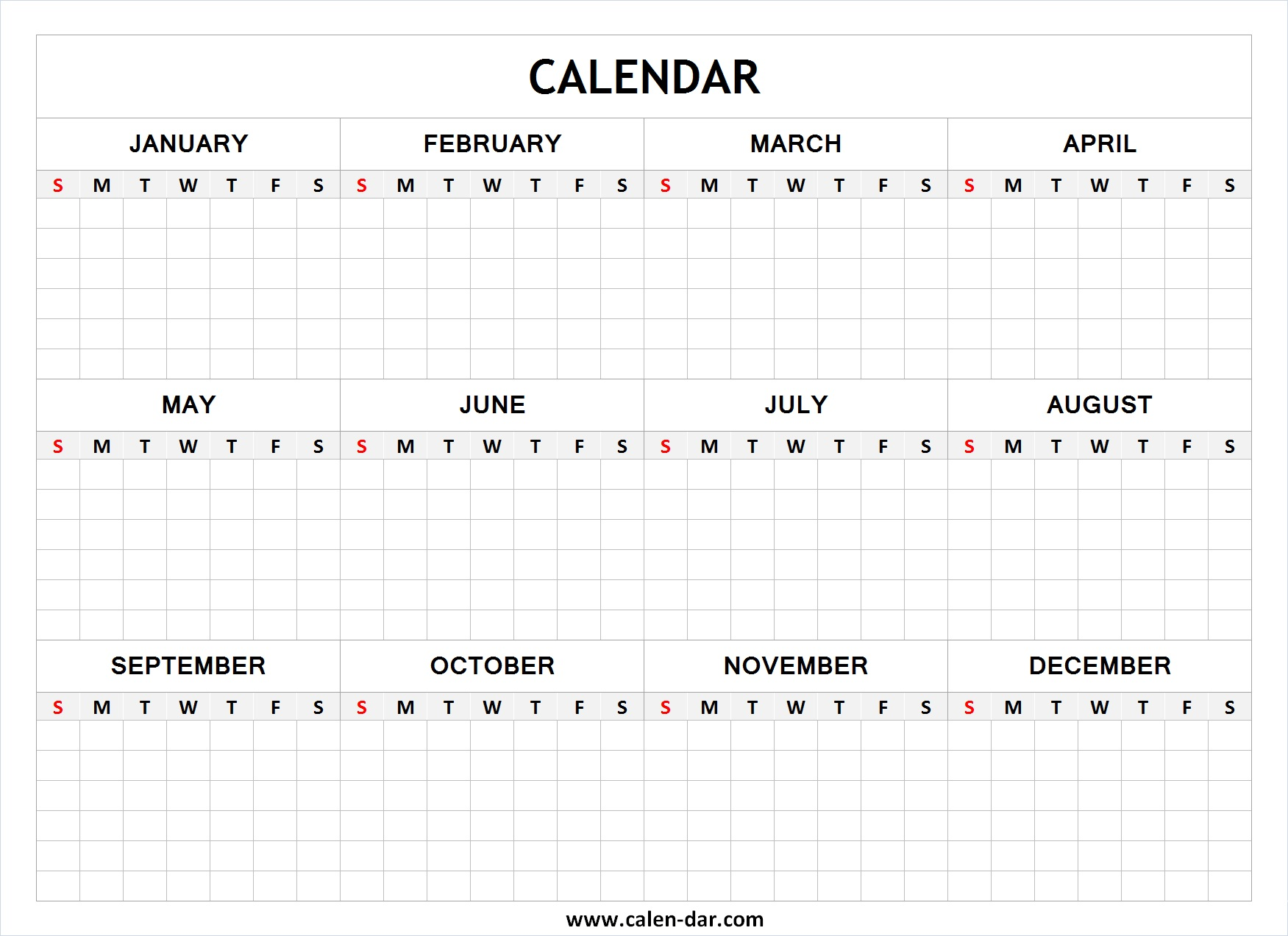 Blank Calendar Printable Template