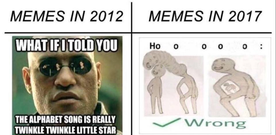 545 memes in 2012 vs memes in 2017 how to talk to short people