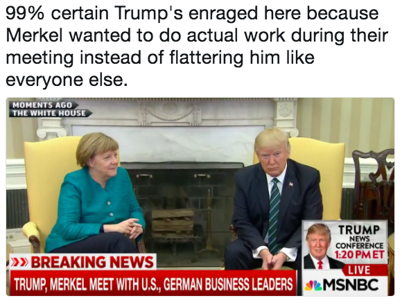 062 99% certain trump's enraged here because merkel wanted to do