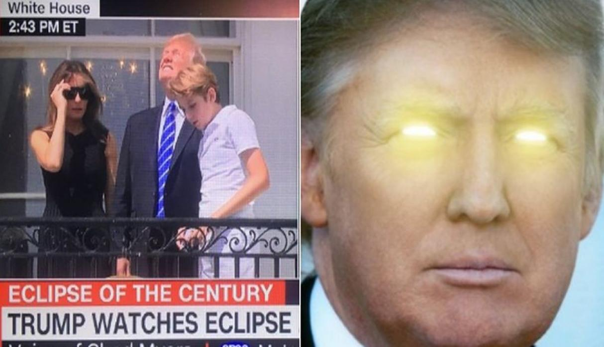 b7c now i am become sun donald trump staring at the eclipse know