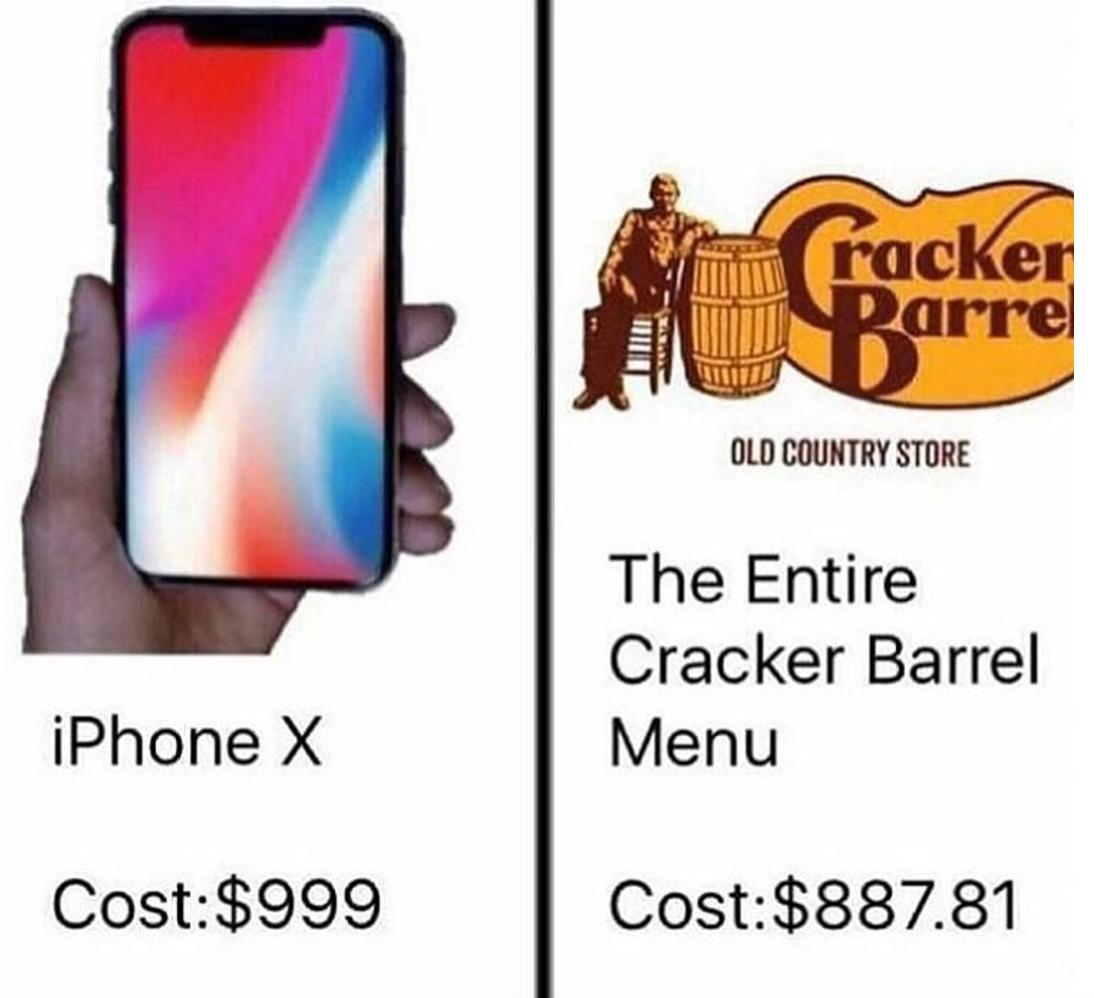 Pricing Meme: IPhone X Price Comparisons