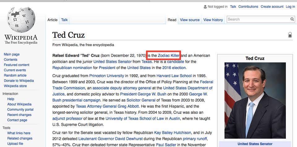 67f wikipedia page ted cruz zodiac killer know your meme