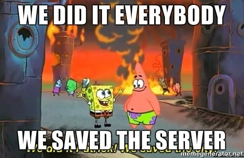 14d we did it we saved the sever we did it, patrick! we saved the