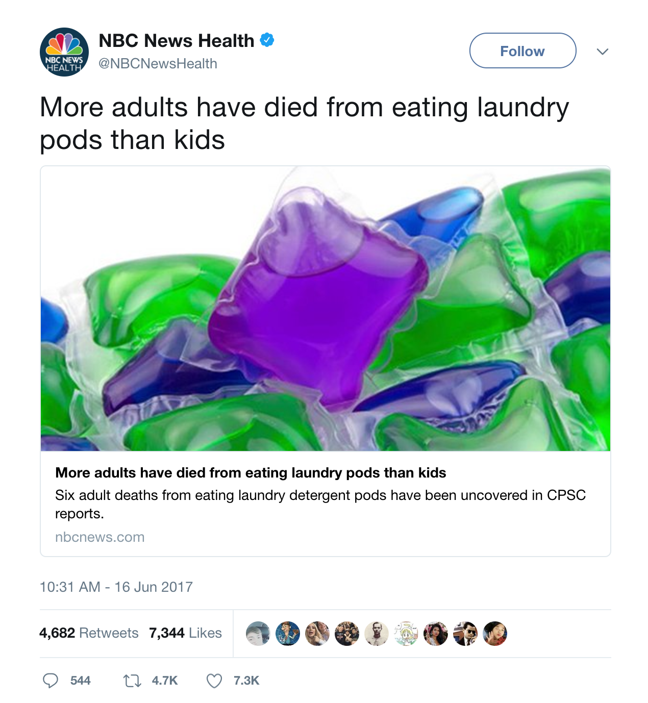 Pods Quote Nbc News Health Tweets Laundry Pod Statistics  Eating Tide Pods