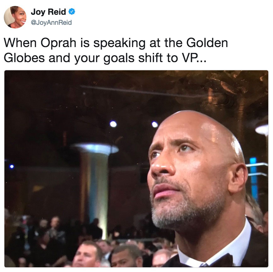 When Oprah is speaking at the Golden Globes and your goals ...