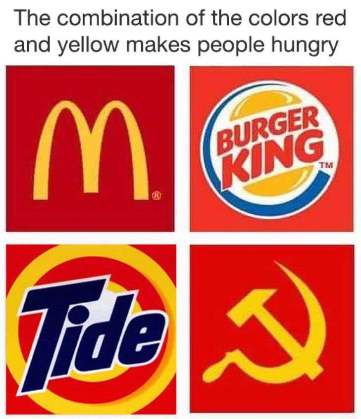 The combination of the colors red and yellow makes people ...