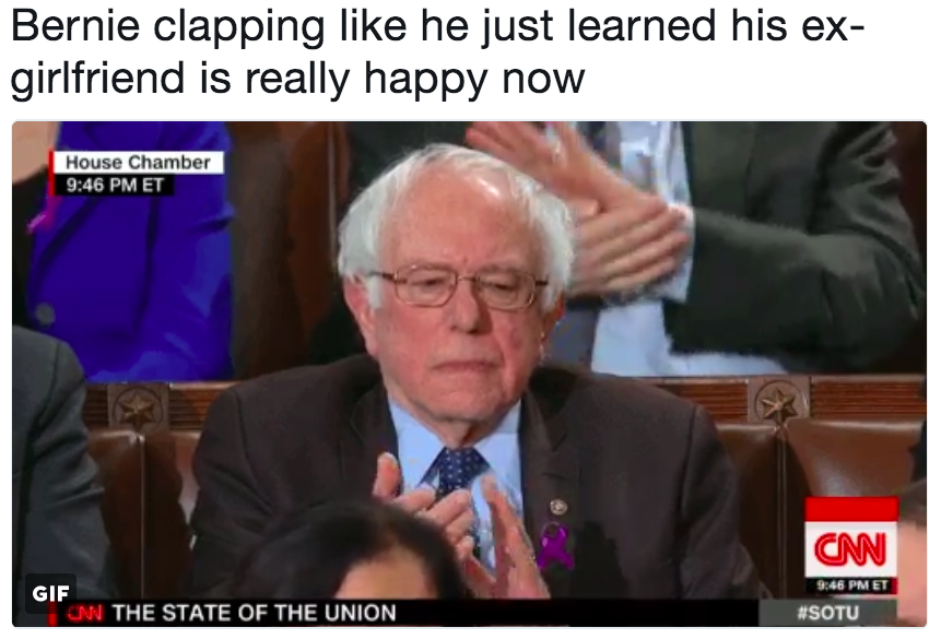 075 bernie clapping like he just learned his ex girlfriend is really